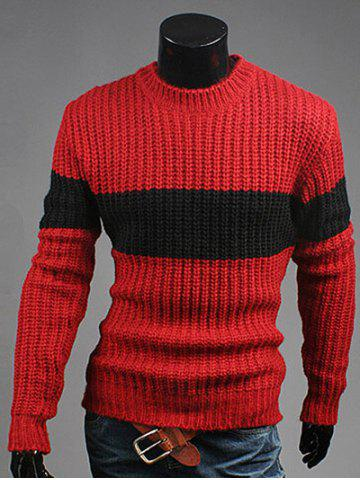 New Crew Neck Color Matching Ribbed Sweater WINE RED 2XL