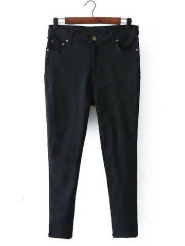 Affordable Zip Fly Pockets Jeans BLACK 3XL