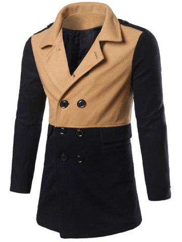 Shops Color Matching Epaulet Design Double Breasted Coat