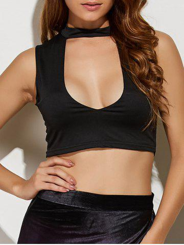 Store Stand Neck Cut Out Crop Top
