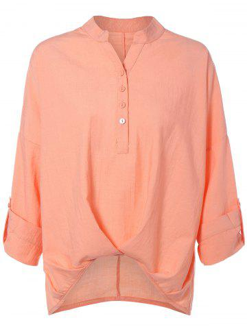 Outfit Long Sleeve High Low Chiffon Blouse NUDE PINK XL