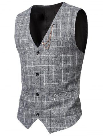 Chic V-Neck Single-Breasted Checked Waistcoat LIGHT GRAY 3XL