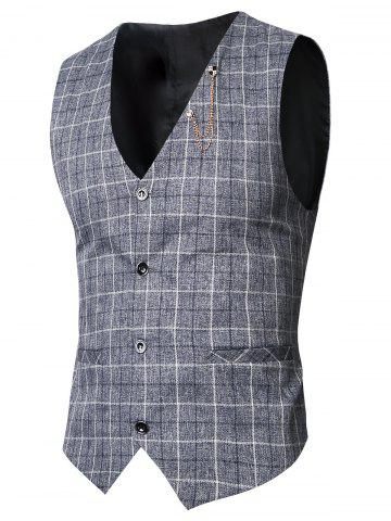 Shops V-Neck Single-Breasted Checked Waistcoat DEEP GRAY 3XL