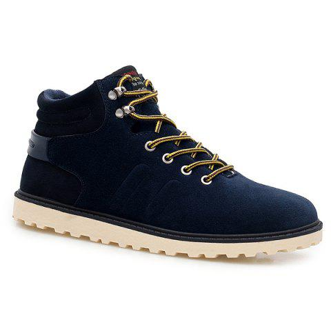 Suede Lace-Up Ankle Boots Bleu 41