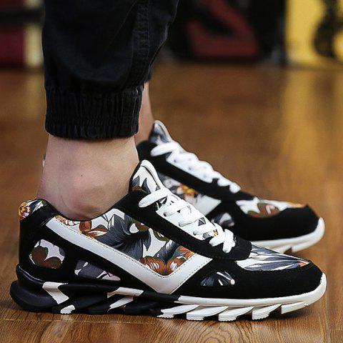 Latest Floral Print Suede Spliced Athletic Shoes BLACK 43