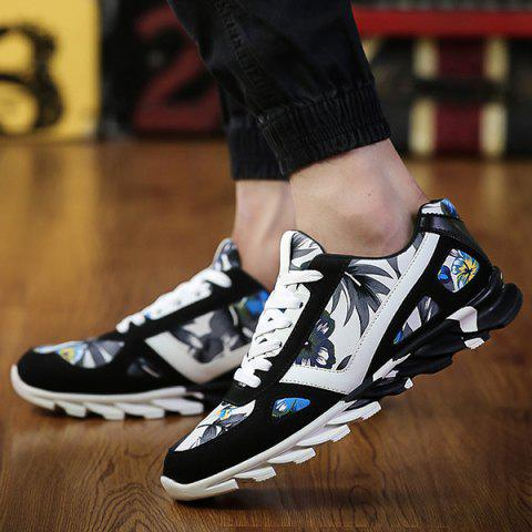 Online Floral Print Suede Spliced Athletic Shoes