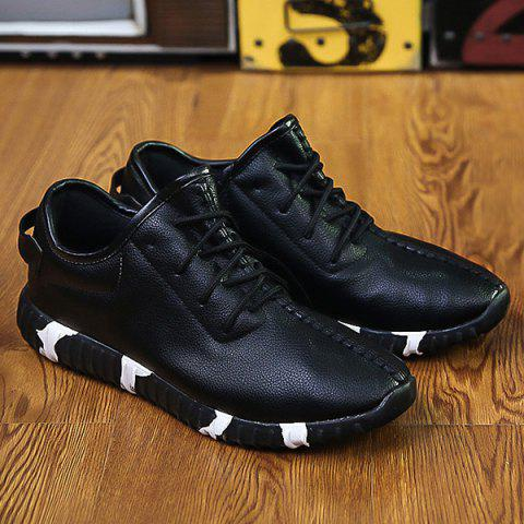 Buy Stitching Lace-Up Textured PU Leather Athletic Shoes - Black 44