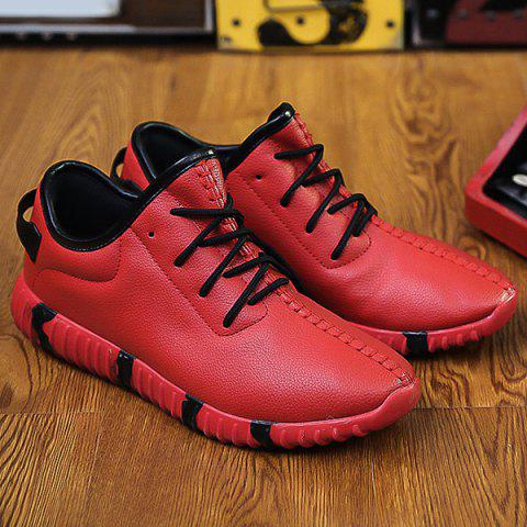 Buy Stitching Lace-Up Textured PU Leather Athletic Shoes - Red 44
