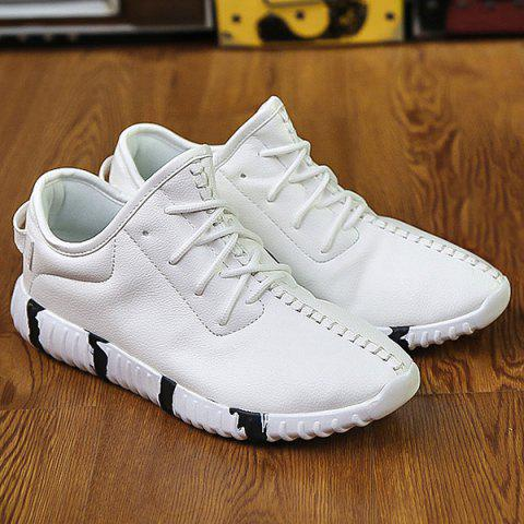 Hot Stitching Lace-Up Textured PU Leather Athletic Shoes WHITE 43