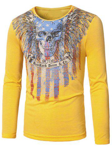Cheap Crew Neck Skull and Striped Print Long Sleeve T-Shirt YELLOW 2XL