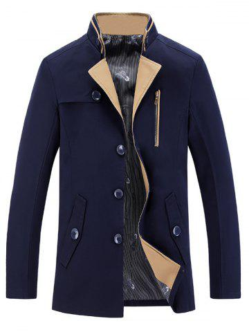 Latest Stand Collar Single-Breasted Zipper Embellished Trench Coat