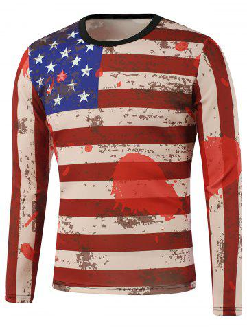Fancy American Flag Print Splatter Paint Sweatshirt