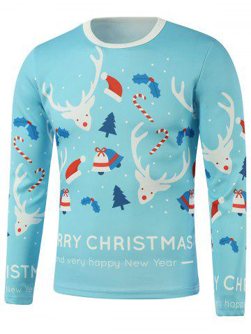 Trendy Merry Christmas Elk Candy Cane Printed Long Sleeve Sweatshirt LIGHT BLUE 5XL