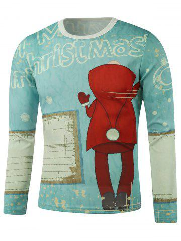 Store Merry Christmas Printed Long Sleeve Sweatshirt LIGHT BLUE 5XL