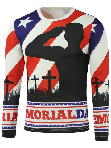 Buy American Flag Star Crucifix Printed Long Sleeve Sweatshirt