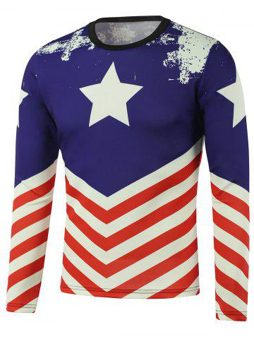 Fashion American Flag Pentagram Printed Long Sleeve Sweatshirt