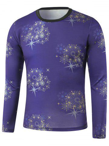 Unique Star Printed Crew Neck Long Sleeve Sweatshirt BLUE M