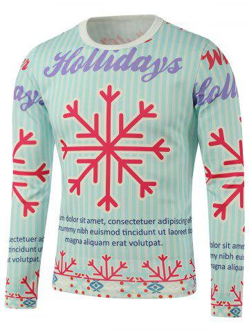 Fashion Crew Neck Snowflake Print Long Sleeve Sweatshirt COLORMIX 5XL