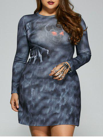 Shops Skull Print Long Sleeves Dress BLUE GRAY 5XL