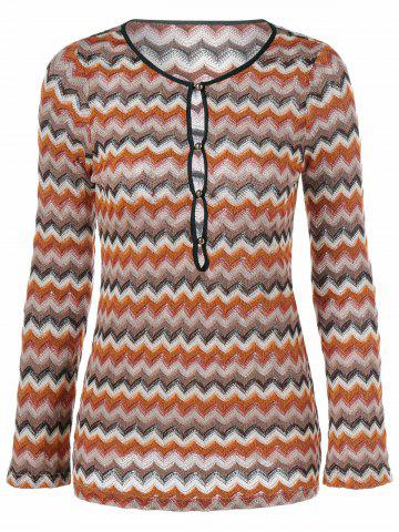 Online Zigzag Pattern Button Embellished Knitted Pullover