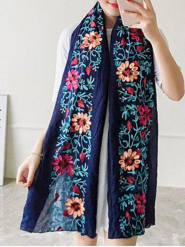Unique Ethnic Style Flower Embroidered Linen Scarf