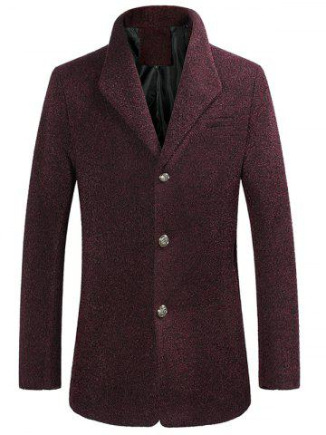 Slim-Fit Single Breasted Rough Wool Mix Coat