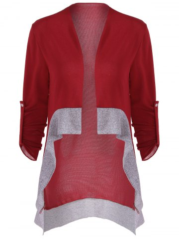 Latest Asymmetrical Color Block Cardigan WINE RED XL