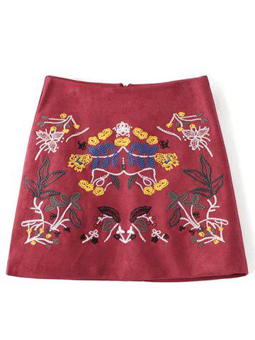 Chic Embroidered Faux Suede Winter Skirt