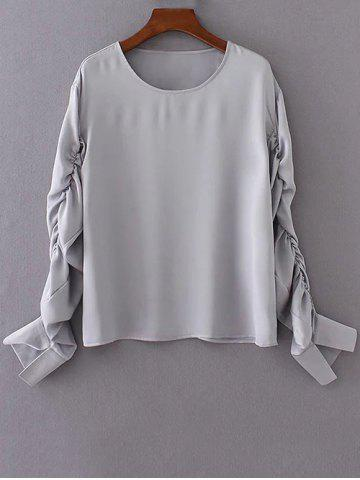 New Ruched Long Sleeve Chiffon Top