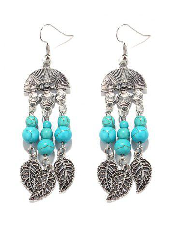 Discount Bohemian Turquoise Leaves Chandelier Earrings TURQUOISE GREEN