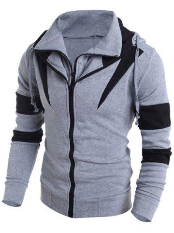 Contrast Color Paneled Drawstring Double Zip Hoodie - GRAY 2XL