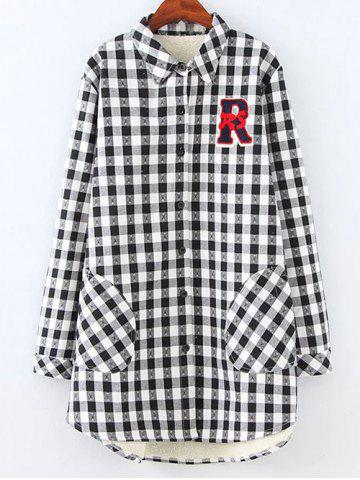 Buy Plus Size Fleece Lined Checked Shirt WHITE AND BLACK 4XL