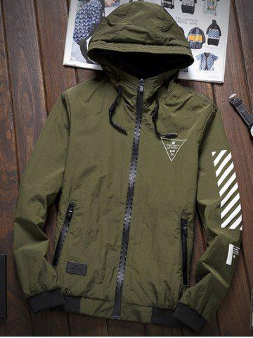 Affordable Stripe 51 Printed Zip-Up Hooded Jacket ARMY GREEN 2XL