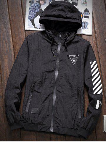 Discount Stripe 51 Printed Zip-Up Hooded Jacket - M BLACK Mobile