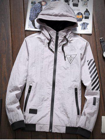 Affordable Stripe 51 Printed Zip-Up Hooded Jacket GRAY 5XL
