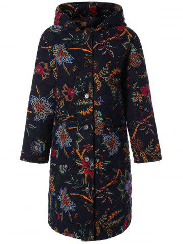 Affordable Hooded Floral Print Plus Size Coat