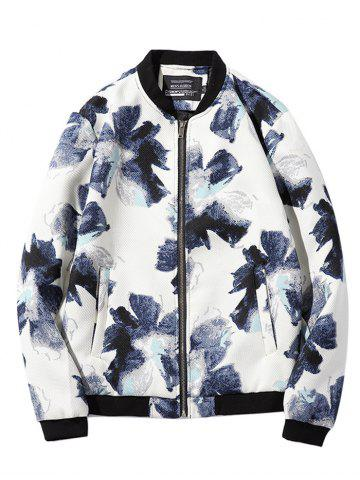 Textured Zip-Up Floral Printed Jacket