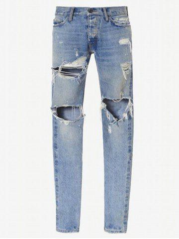 Cheap Zip Cuff Knee Hole Narrow Feet Ripped Jeans - 32 LIGHT BLUE Mobile