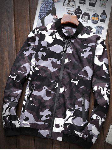 Affordable Zipper-Up Pocket Stand Collar Camouflage Jacket