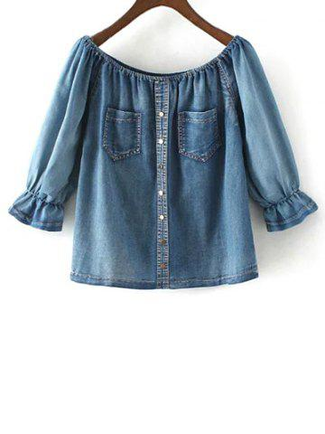 Hot Off The Shoulder Pockets Denim Blouse