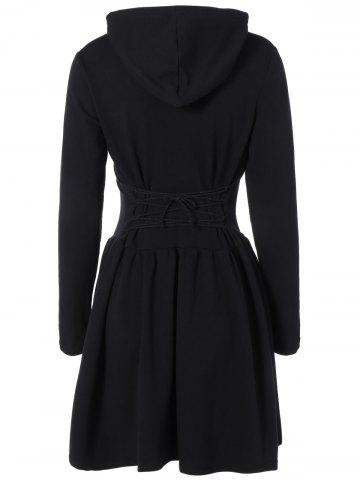 Outfits Hooded Long Sleeve Dress with Criss Cross BLACK 2XL