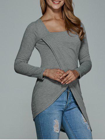 Hot Long Sleeve Asymmetric T-Shirt