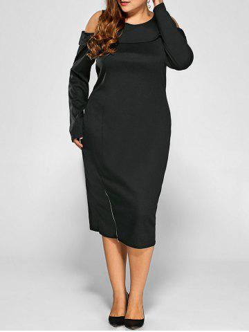 Outfit Cold Shoulder Plus Size Long Sleeve Cream Dress with Zipper BLACK 3XL