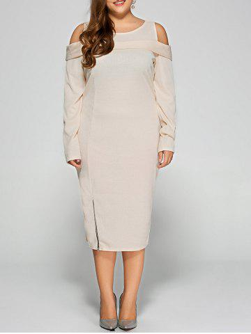 Cold Shoulder Plus Size Long Sleeve Cream Dress with Zipper - Apricot - 3xl