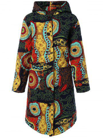Trendy Hooded Ethnic Print Plus Size Coat COLORMIX 4XL