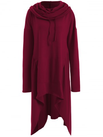 Cheap Asymmetrical Pocket Design Loose-Fitting Neck Hoodie - WINE RED M Mobile