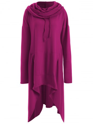 Hot Asymmetrical Pocket Design Loose-Fitting Neck Hoodie