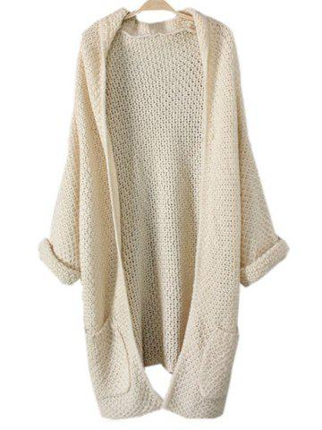 Latest Turnup Sleeves Pockets Knitted Cardigan