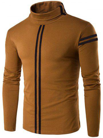Affordable Roll Neck Varsity Stripe Long Sleeve T-Shirt - 2XL COFFEE Mobile