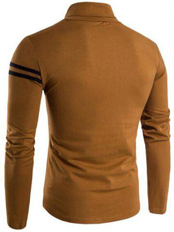 Trendy Roll Neck Varsity Stripe Long Sleeve T-Shirt - XL COFFEE Mobile